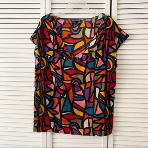French Connection Multi Color Short Sleeve Top, M